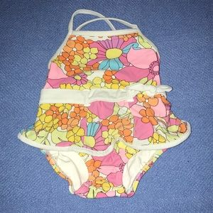 Gymboree,floral baby swimsuit.size 6-12 month's